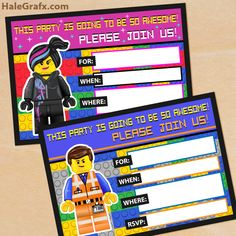 Free Printable Lego Movie Emmet and Wildstyle invitation templates - just print off and fill in.