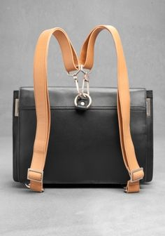 & Other Stories image 3 of Leather rucksack satchel in Black