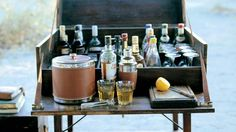 Stylish mobile camp bar.  THAT'S MY KIND OF CAMPING!