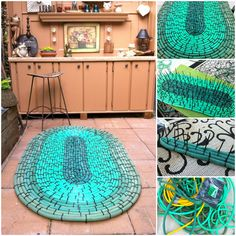 I used old garden hoses and black zip ties to create a large oval rug to use in front of my planters bench. More information: Our Garden Path website ! Submitted by: Ann Elias ! Backyard Projects, Garden Projects, Diy Projects, Garden Ideas, House Projects, Garden Mats, Garden Hose, Garden Stakes, Set Fashion