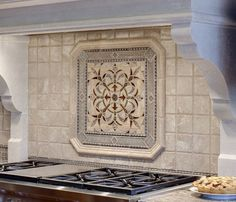 Simple Clean Field Tiles With Bold Medallion Detail Above Cooktop In The Home Kitchens Pinterest Bald Hairstyles Fields And