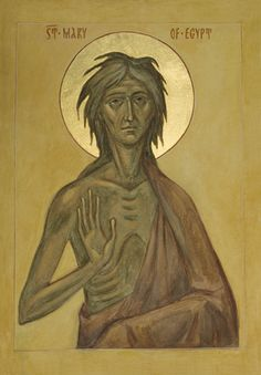 Her repentance is not of the moral sort, a mere sorrow for deeds that have been done. Her repentance is an effort of self-emptying that is greeted by a Divine-filling. She becomes a vessel of grace in the manner described by St. Orthodox Catholic, Orthodox Christianity, Catholic Saints, St Mary Of Egypt, Greek Icons, Christian Mysticism, Lives Of The Saints, Russian Icons, Byzantine Icons