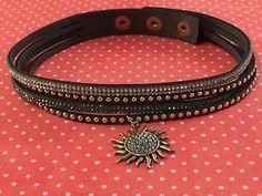 Gray leather Choker /wrap bracelet  Swarovski Crystal W/Charm Adjustable  | eBay