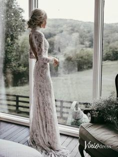 Country Mermaid Wedding Dresses High Neck Lace Backless Long Sleeve Sweep Train Bridal Gowns Plus Size Robe De Mariée from Babybridal is part of Ruffle wedding dress If you want custom made color a - Boho Wedding Dress With Sleeves, Long Wedding Dresses, Lace Dress, Dresses With Sleeves, Dress Wedding, Long Dresses, Tulle Wedding, Dresses Dresses, Ling Sleeve Wedding Dress