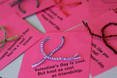 Love this friendship bracelet Valentine craft idea