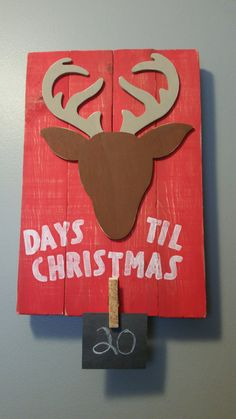 Days Til Christmas reclaimed wood reindeer sign  by 5oh4Designs on Etsy