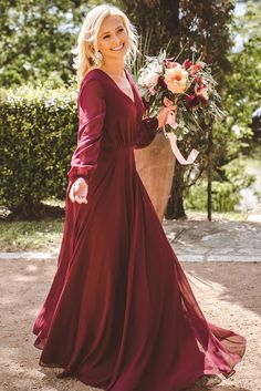 Wonderful Perfect Wedding Dress For The Bride Ideas. Ineffable Perfect Wedding Dress For The Bride Ideas. Wine Color Bridesmaid Dress, Burgundy Bridesmaid Dresses Long, Bridesmaid Dresses With Sleeves, Red Wedding Dresses, Wedding Dress Sleeves, Fall Dresses, Wedding Gowns, Long Dresses, Bridesmaid Jewelry
