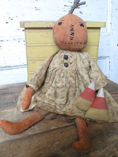 Primitive Grungy Folk Art~ Fall Pumpkin Doll w/Candy Corn Set~Hafair