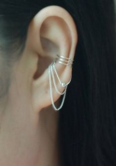 Sterling silver 3 band with Chain & ball Ear cuff, Ear Jacket, No Piercing Cartilage Ear Cuff