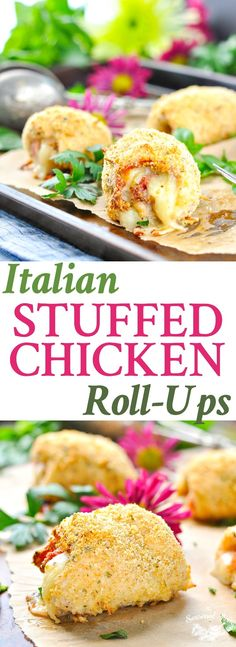 With layers of prosciutto ham and provolone cheese tucked inside Parmesan-crusted chicken, these quick and easy Italian Stuffed Chicken Roll-Ups are a fun twist on the classic Cordon Bleu! Easy Dinner Recipes | Chicken Breast Recipes | Dinner Ideas | Low Carb