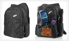 Powerbag Backpack or Wheeled Briefcase with Built-in Battery System Suspension Straps, Drawing Bag, Gadget Gifts, Types Of Bag, Online Deals, North Face Backpack, Briefcase, Messenger Bag, Shoulder Strap