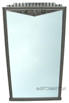 Tall French Art Deco Silvered Wall Mirror