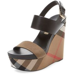 Burberry Women's House Check Leather Wedge - Size 36.5 ($459) ❤ liked on  Polyvore