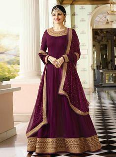 e861282696 Prachi Desai Crepe Embroidery Churidar Suit In Purple Colour in 2019