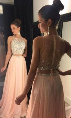 2 piece Prom Dresses,Two Piece Prom Gown,Pink Prom Dresses,Long Prom Gown,A Line Prom Dress                                                                                                                                                                                 More