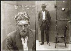 """Mug shot of Walter Smith, 15 December location unknown – from the National Library of Australia. """"Special Photograph no. Walter Smith is listed in the NSW Police Gazette, 24 December as 'charged with breaking and entering the. Mafia, Vintage Workwear, John Gall, Old Photos, Vintage Photos, Vintage Portrait, City Of Shadows, Walter Smith, Andre Kertesz"""