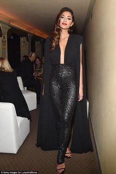 Nicole Scherzinger wearing Stuart Weitzman Nudist Sandals in Black Patent