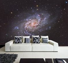 Wall MURAL Beautiful Spiral Galaxy Wall Paper, Self-Adhesive Wall Covering, Peel And Stick Repositionable Space Wallpaper