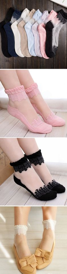 US$4.53+Free shipping#Women Ultra-Thin Transparent Print Crystal Lace Ankle Socks