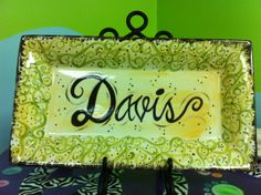 Personalized hand painted ceramic name tray by letzgetpersonal, $70.00