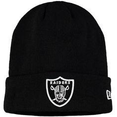 Men's Oakland Raiders New Era Black Solid Cuffed Knit Hat