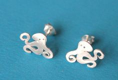 Octopus sterling silver stud earring small by SilverTemptation, $24.00. Buy 2 items in my Etsy shop and get a free pair of earrings. Check out my Etsy shop for more details. Thank you