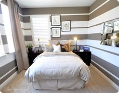 stripes in a small room our master bedroom just update - Bedroom Stripe Paint Ideas