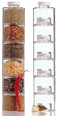Your spices will stand tall in a colorful space saving display. Unique interlocking bottle design keeps them sturdy while you stack them high. Cool Kitchen Gadgets, Cool Kitchens, Kitchen Stuff, Kitchen Tools, Spice Bottles, Spice Jars, Kitchen Styling, Kitchen Decor, Kitchen Ware