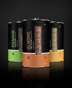 Nuts battery packaging on Behance Fruit Packaging, Cool Packaging, Food Packaging Design, Coffee Packaging, Packaging Design Inspiration, Brochure Design Samples, Biscuits Packaging, Pharmacy Design, Label Design