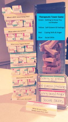 Therapeutic Jenga Game - Coping skills, self esteem, social skills, getting to know you Social Work Activities, Counseling Activities, School Counseling, Group Counseling, Group Therapy Activities, Coping Skills Activities, Therapy Games, Play Therapy, Therapy Ideas