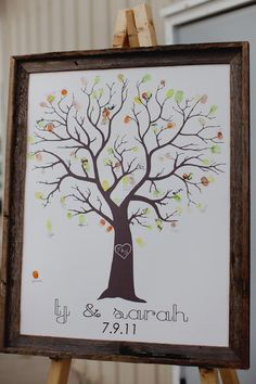 Thumbprint tree guest book - love the frame and the fact they used fall leave colors instead of just green