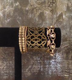 Chunky Brass Cuff Gold Tone Bracelets Rhinestones Bohemian Jewelry Hippie Boho Style Indie Folk Festival Vintage Panel Bracelet by LandofBridget on Etsy