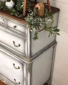 This Antique chest of drawers was my test piece on a new technique. I used Dixie Belle Paint in Gravel Road, Dried Sage & Fluff. Chest Of Drawers Makeover, White Chest Of Drawers, Furniture Makeover, Diy Furniture, Furniture Refinishing, Painted Chest, Painted Dressers, How To Dry Sage, Antique Chest