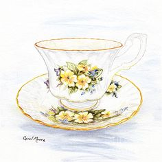 Tea cup and saucer with yellow blooms, watercolor painting by artist Carol Moore.