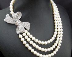 Pearl NecklaceStatement Bridal NecklaceBridal Pearl by DivineJewel
