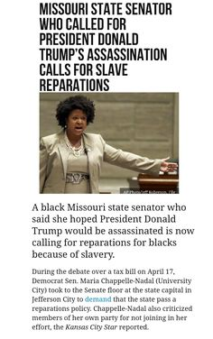 When & where was this dumbass a slave??? ...and isn't making a terroristic threat against the President a FELONY? Why isn't she locked up? Liberal Hypocrisy, Liberal Logic, Socialism, Politicians, Cant Fix Stupid, Stupid People, Democratic Party, Pos, Enemies