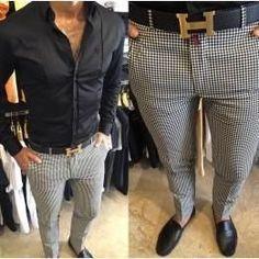 Men Plaid Pants, Italian Style Cotton Pants