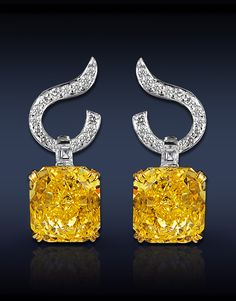 Fancy Vivid Yellow Diamond Drop Earrings