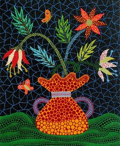 """""Flowers"" by KUSAMA Yayoi, Japan Yayoi Kusama, Avant Garde Artists, Kindergarten Art Projects, Tokio, Andy Warhol, Feminist Art, Pointillism, Kyoto, Japanese Artists"