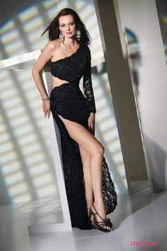 A very femme fatal black dress...