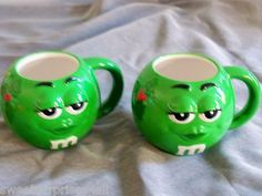 Coffee Mugs GREEN M&M's Cups Holly Berry Christmas Lot Candy Collectible