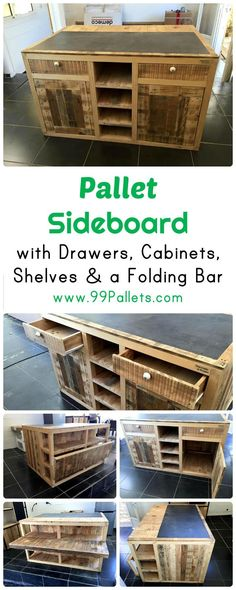 Pallet Sideboard with Drawers, Cabinets & Folding Bar | 99 Pallets