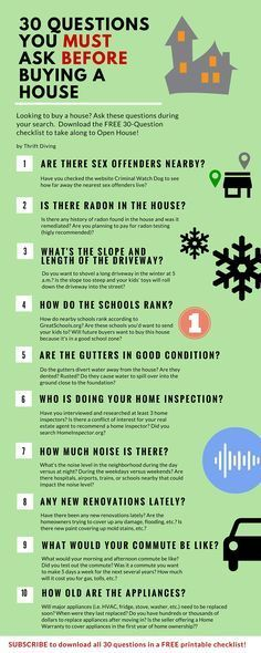 What to know before you buy a house - Here are 30 questions that you MUST ask before you buy a house! Some things you never thought of, including whether there are sidewalks in the neighborhood! No sidewalks = greater chance of getting hit by a car when your kids are riding their bikes. Download the list of 30 questions right here!