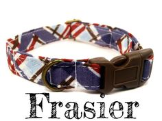 LAST ONE  Blue Brown Red Plaid Dog Collar  Organic by veryvintage