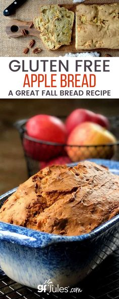 """Gluten Free Apple Bread Recipe, anyone? 'Tis the season for all things pumpkin, cranberry, apple, warm and spicy! My Gluten Free Apple Bread recipe is one of those """"have it your way"""" recipes that you can spice up or down to suit your taste; you can also make the apples smooth and saucy so you barely notice them. Good Gluten Free Bread Recipe, Tasty Bread Recipe, Gluten Free Baking, Gluten Free Pumpkin, Pumpkin Recipes, Fall Recipes, Breakfast Bread Recipes, Apple Bread, Puff Pastry Recipes"""