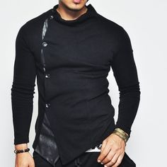 Leather Trim Turtle Button Up Truly Elegant And Trendy Look For Any OccasionBlend Of Leather And WoolPlease Allow 5-10 Business Days For Processing