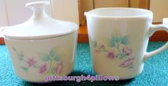 Corelle - Dinnerware By Corning - Cornerstone - In Orginal Box - Alpine Blossom - HTF - EUC -   Sugar & Creamer Set - 620-94 by pittsburgh4pillows on Etsy