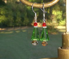 Christmas Green Red Copper Crystal Tree Earrings Made With Swarovski Elements #christmastree