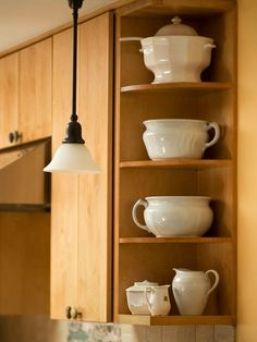 Open Shelving A Basic Solid Side Cabinet Would Have Closed Off The Kitchen To Adjacent Dining Room Section Of Airy Shelves Provides An