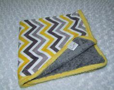 Yellow and Gray Chevron MINKY Blanket- Ready to Ship